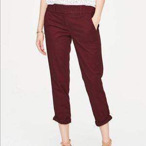 NWT Loft burgundy modern chino crop pants